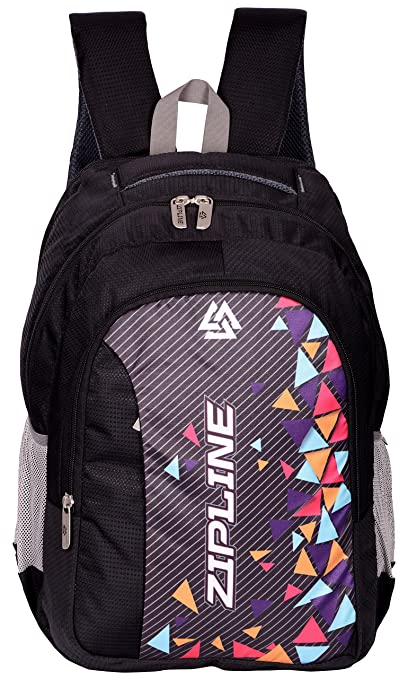 10891dd2a1 ZIPLINE Unisex Casual Polyester 37 L Backpack School Bag Women Men Boys  Girls Children Daypack College Bag Weekend Bag (Black): Amazon.in: Bags, ...