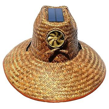 874cc27e9 Amazon.com: Cooling Sun Straw Solar Unisex Palm Leaf Thurman Hat w/o ...