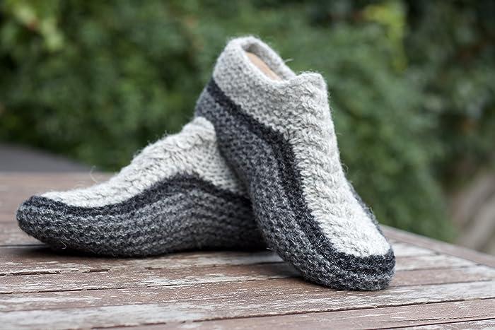 Sock Knitting Kits Uk : Knit slippers wool socks grey chunky hand knitted from pure shetland