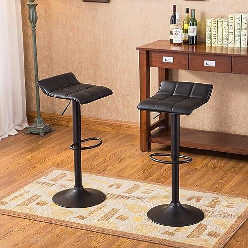 Roundhill Furniture Belham Swivel Black Bonded Leather Adjustable bar Stool. Set of 2