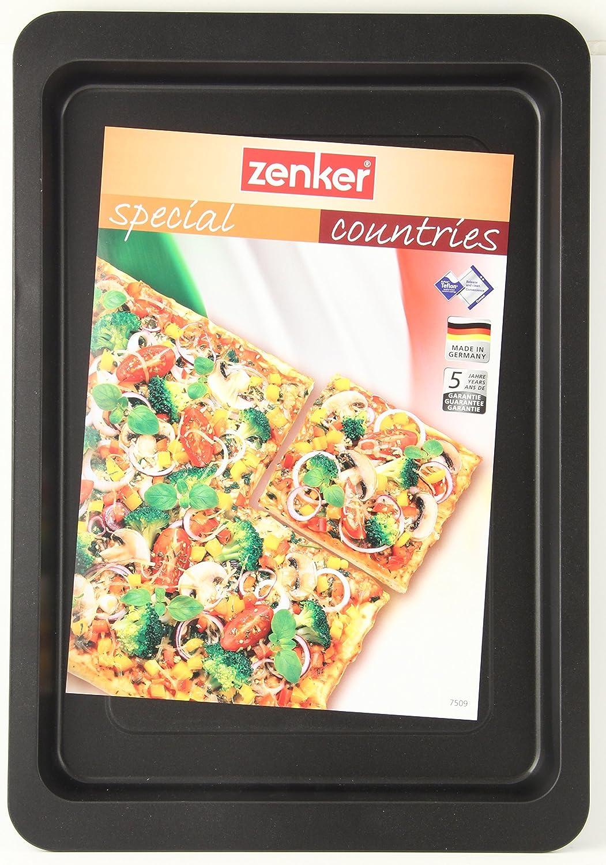 Zenker Special Countires Bandeja Pizza/Brazo Gitano en acero con revestimiento antiadherente Teflon. Negro. 42x29x2,5cm. 1ud.: Amazon.es: Hogar
