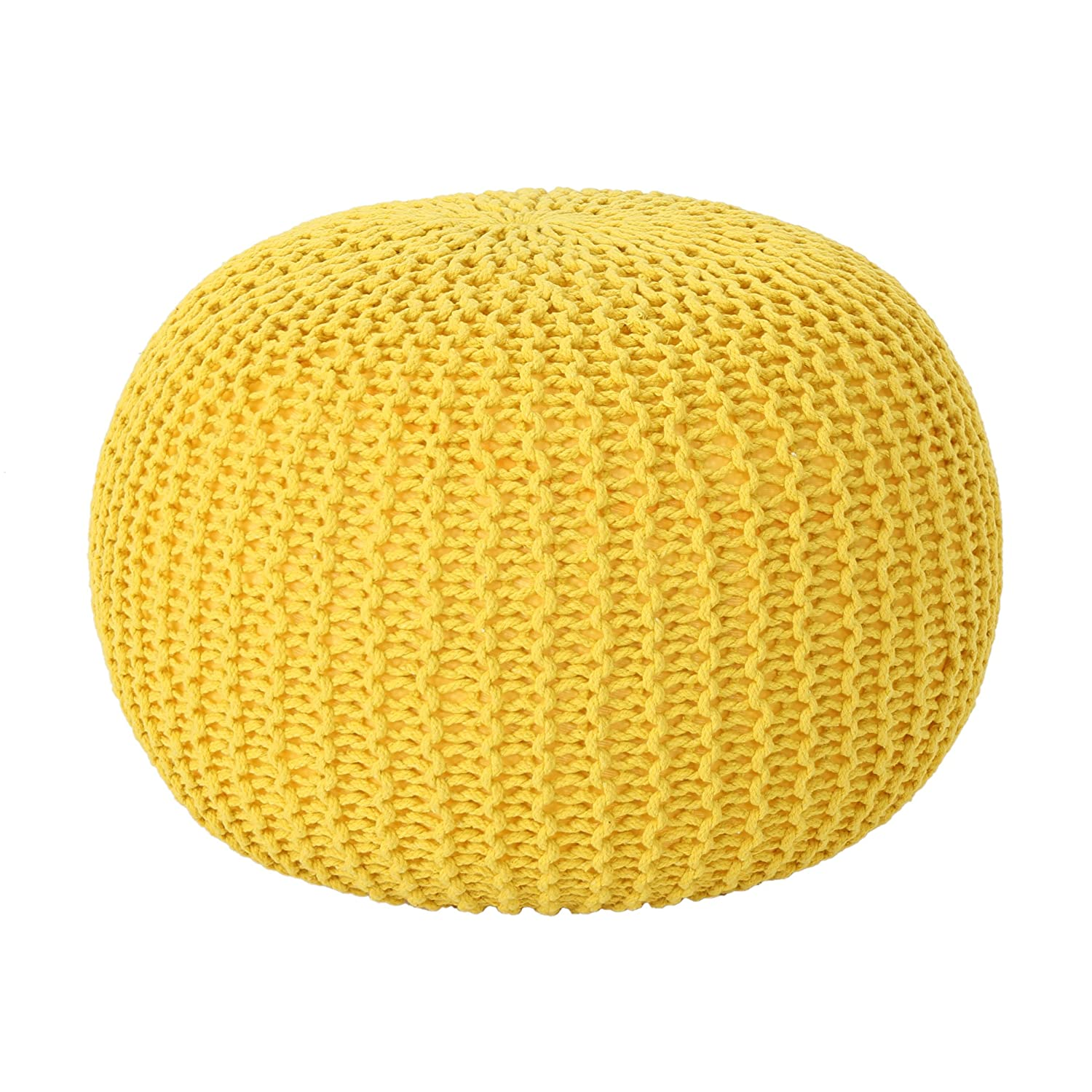 B07BW8FX8D Christopher Knight Home Belle Knitted Cotton Pouf, Yellow 91DRs6lFeNL