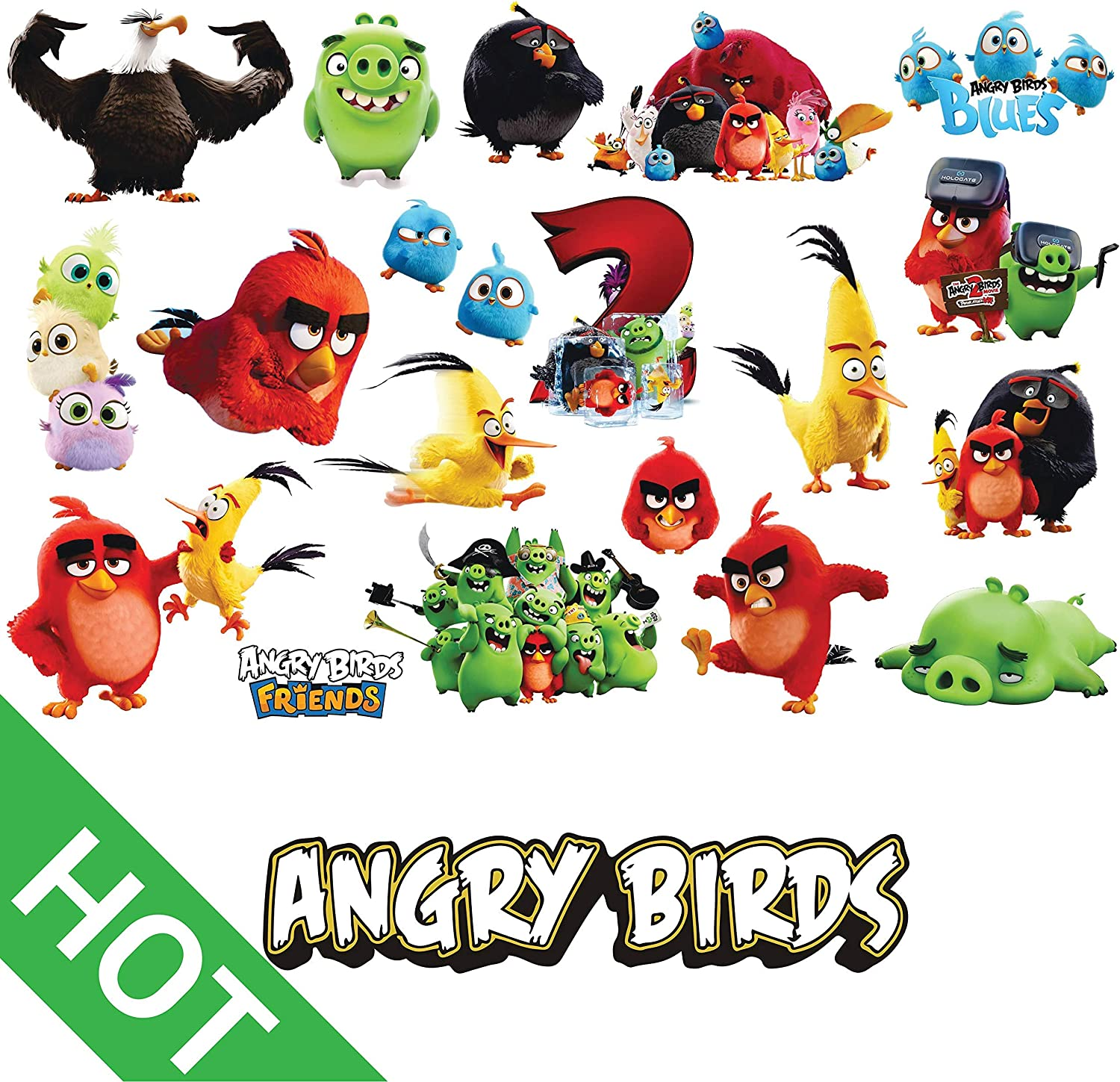 Angry Birds Sticker, Waterproof Vinyl Decal with Cute Funny Angry Bird Characters for Decorating Water Bottles, Laptops, Notebook, Mobile Phone, Skate Board, Helmet, Guitar & Luggage. by H2 Studio