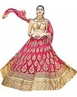 AASVA Women's Net Lehenga Choli With Un-Stitched Blouse(Stnsya8401_Pink Free Size)