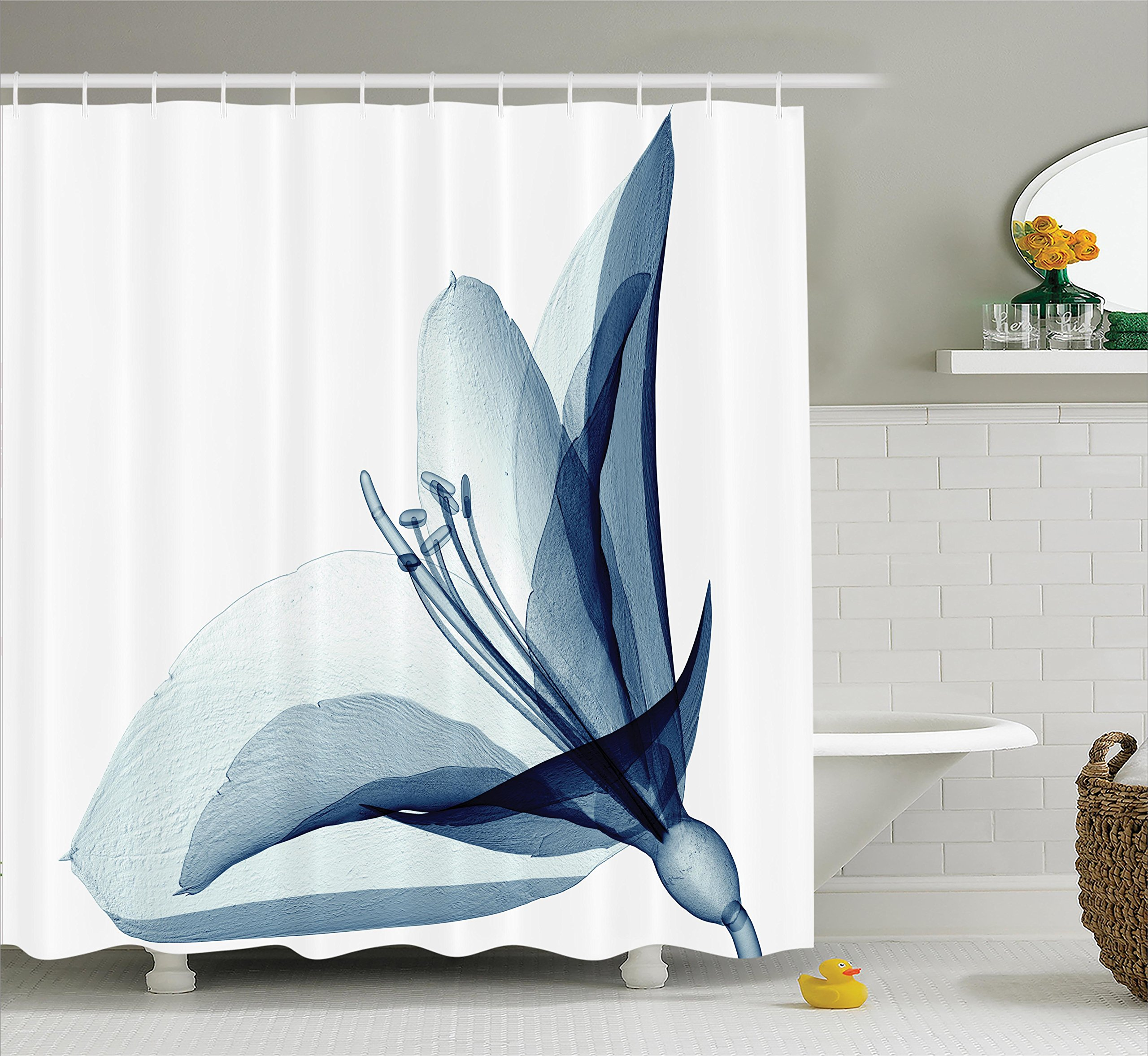 Ambesonne Xray Flower Decor Collection, X-ray Inspired Transparent Image of Amaryllis Flower Nature Decorating Artwork, Polyester Fabric Bathroom Shower Curtain, 84 Inches Extra Long, Teal White