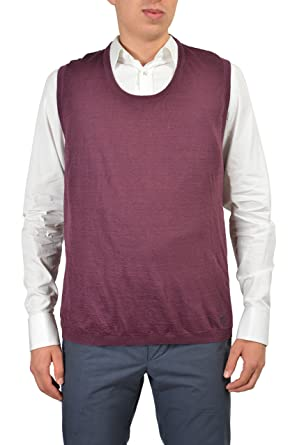 Amazon.com: Gucci Men's Purple Linen Casual Sweater Vest Size US ...