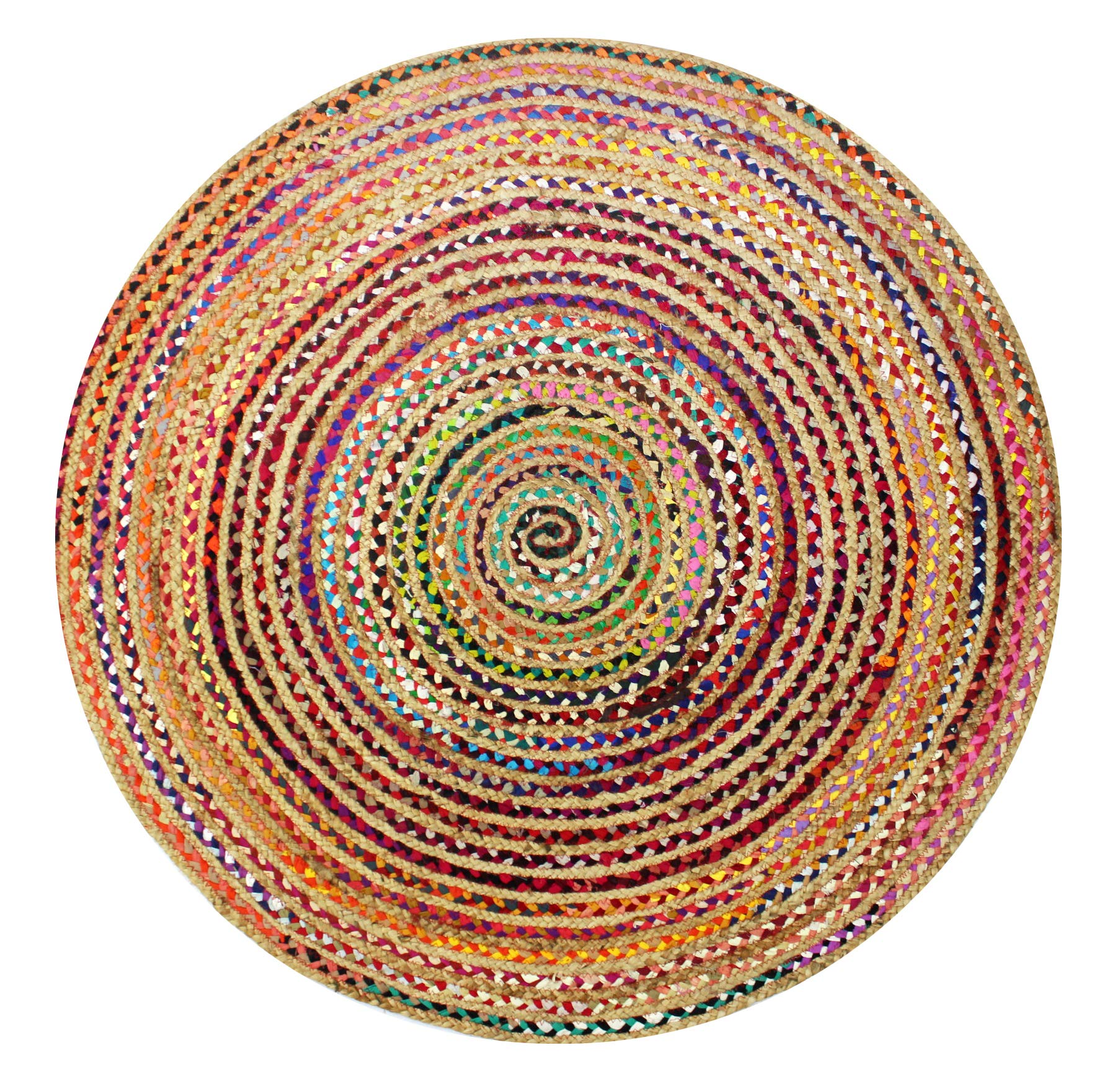 Cotton Craft Jute & Cotton Multi Chindi Braid Rug, Hand Woven Reversible, 4-Feet, Colors may Vary by Cotton Craft