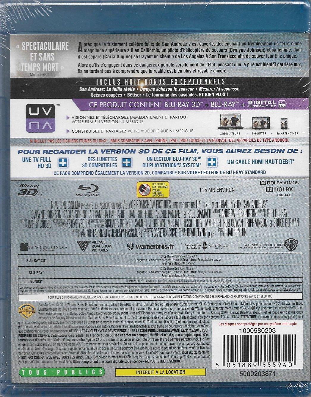 San Andreas Blu-ray 3D Combo Blu-ray 3D + Blu-ray + Copie digitale ...