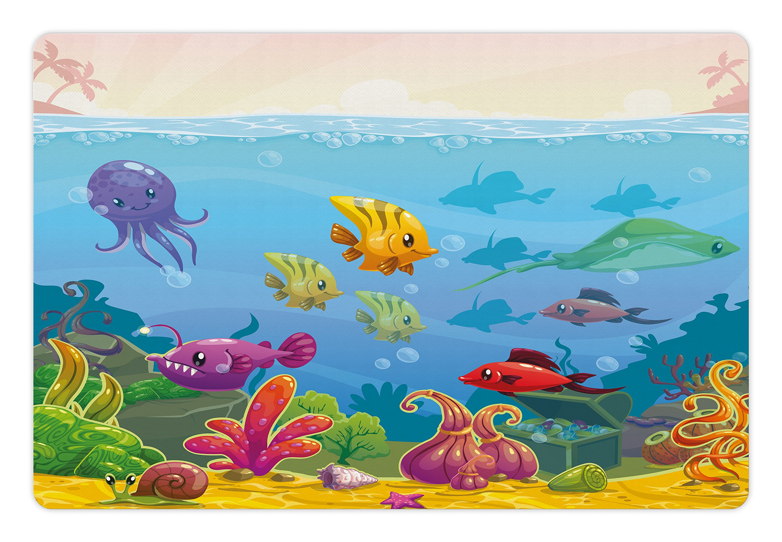 Lunarable Aquarium Pet Mat for Food and Water, Funny Cartoon Style Underwater Scenery with Various Animals and Treasure Chest, Rectangle Non-Slip Rubber Mat for Dogs and Cats, Multicolor