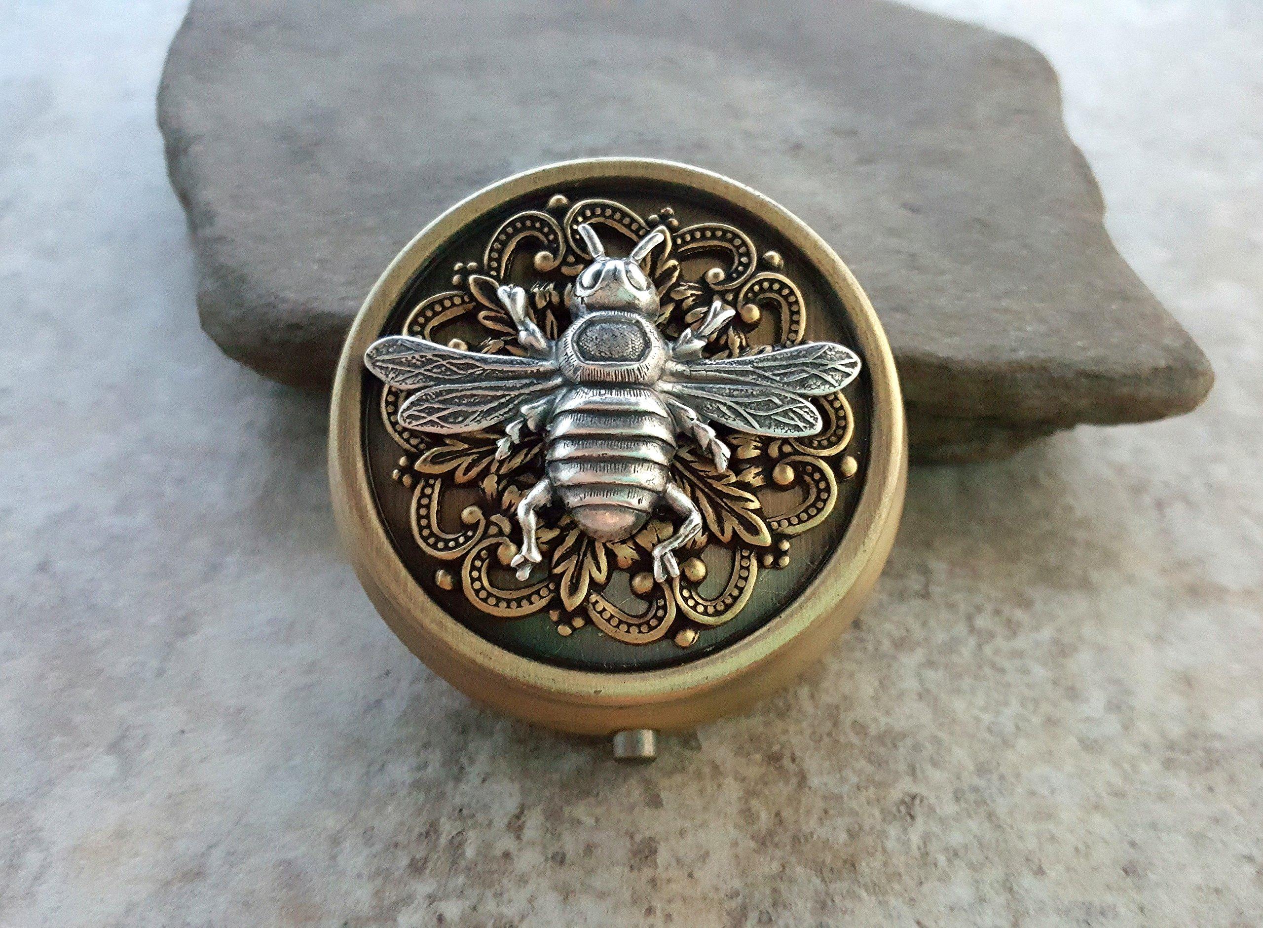 Handmade Silver Bee Pill Box