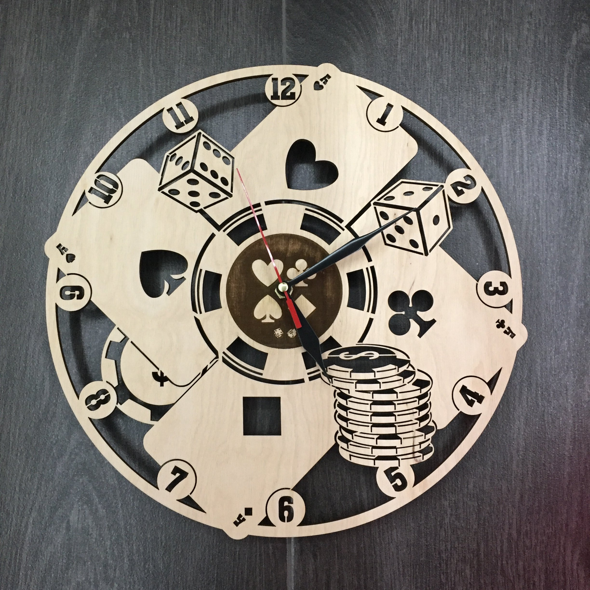 Poker Wall Clock Made of WOOD - Perfect and Beautifully Cut - Decorate your Home with MODERN ART - UNIQUE GIFT for Him and Her - Size 12 Inches