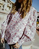 The Drop Women's Ivory Floral Print Ruffled V-Neck Balloon Sleeve Loose-Fit Blouse by @spreadfashion