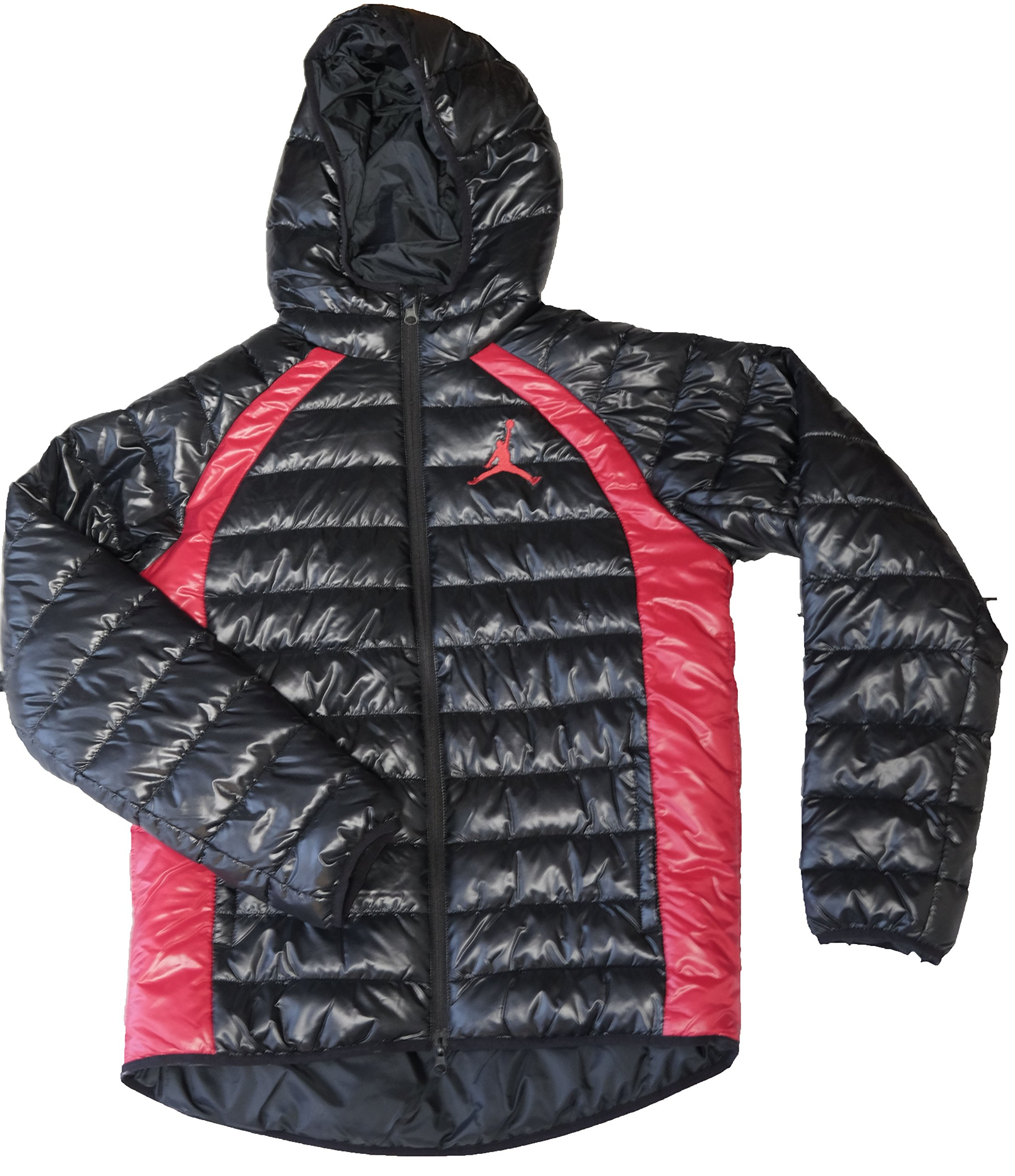 abc8dcd73 Galleon - NIKE Air Jordan Boys Youth Hooded Puffer Jacket, Black/Red -  XLarge