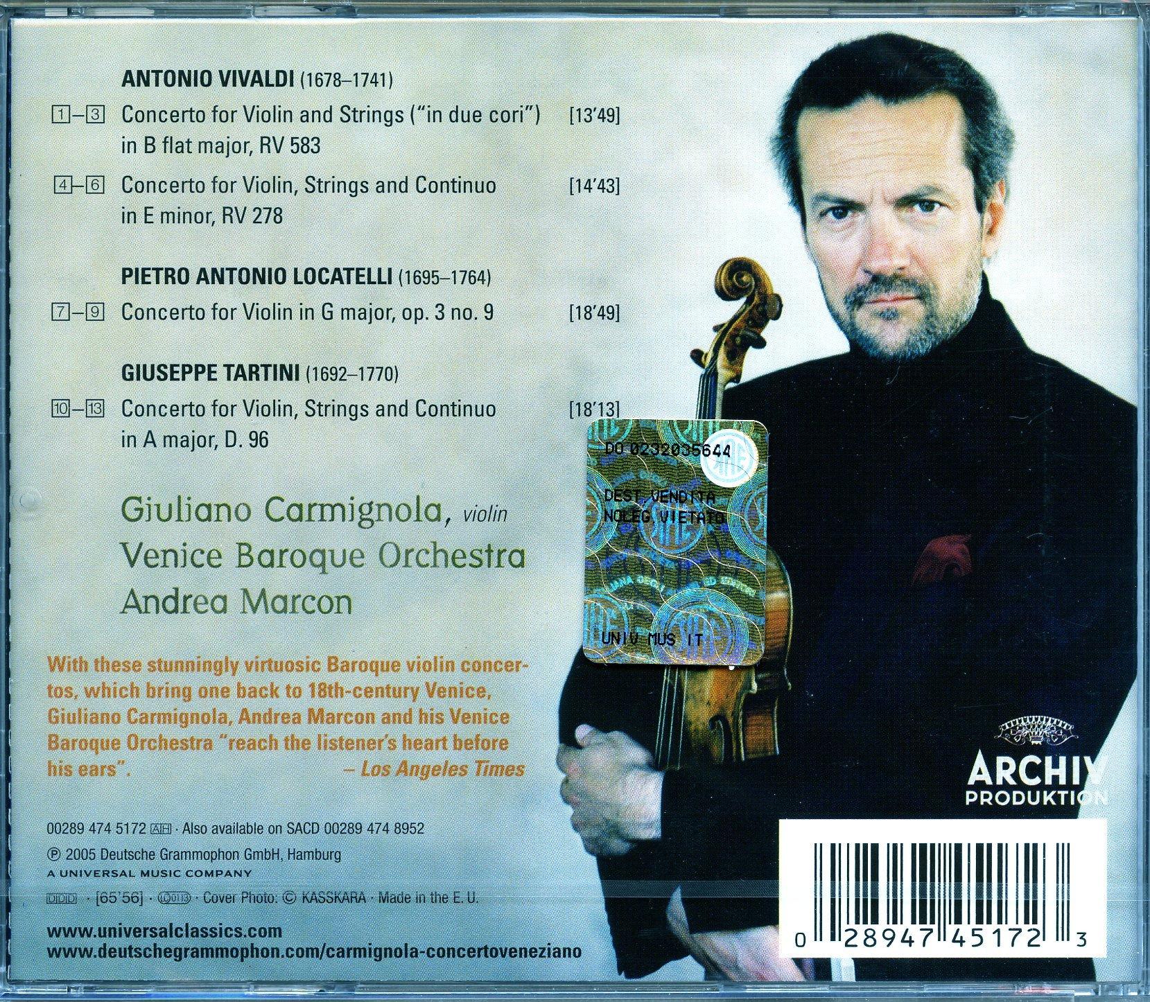 Vivaldi, Locatelli, Tartini: Concerto Veneziano by CD