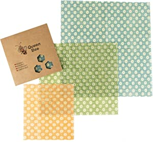 3 x Beeswax Food Wraps - Zero Waste | Fabric Cloth Covered with Bee's Wax. An Eco-friendly, Reusable Alternative for Plastic Cling and Saran Wrap. Biodegradable Product