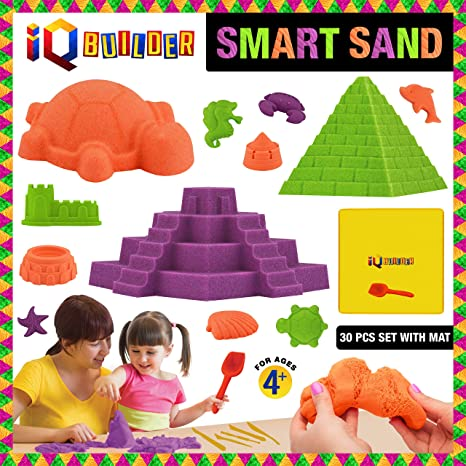 3ef8bab3d IQ BUILDER | Sensory Toys | Creative Educational Art Play Sand for Boys and  Girls Ages 3 4 5 6 7 8 9 10 Year Old + | Fun MOLDABLE Synthetic Beach Sand  KIT ...