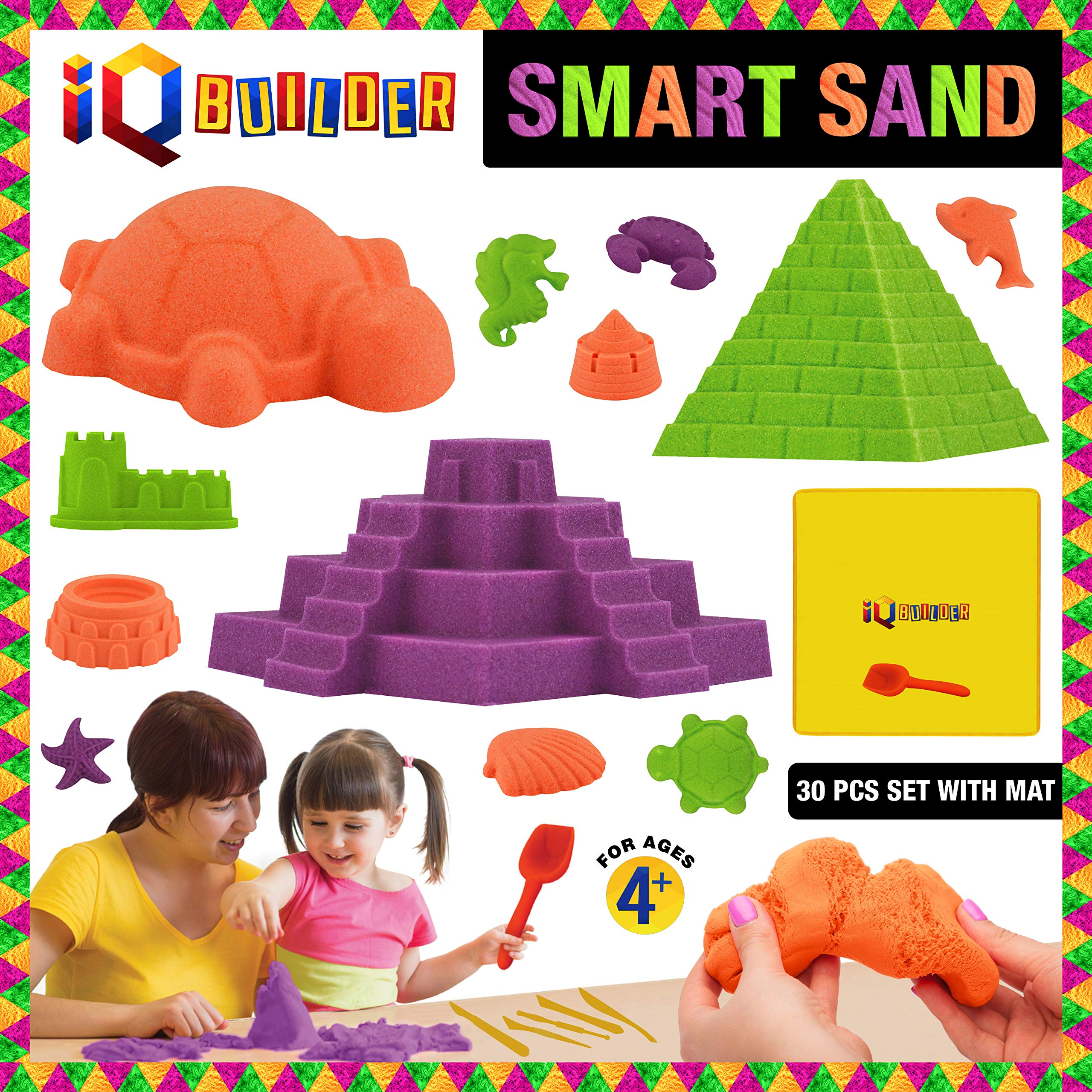 IQ BUILDER | Sensory Toys | Creative Educational Art Play Sand for Boys and Girls Ages 3 4 5 6 7 8 9 10 Year Old + | Fun MOLDABLE Synthetic Beach Sand KIT for Children | Best Toy Gift for Kids by IQ BUILDER (Image #1)