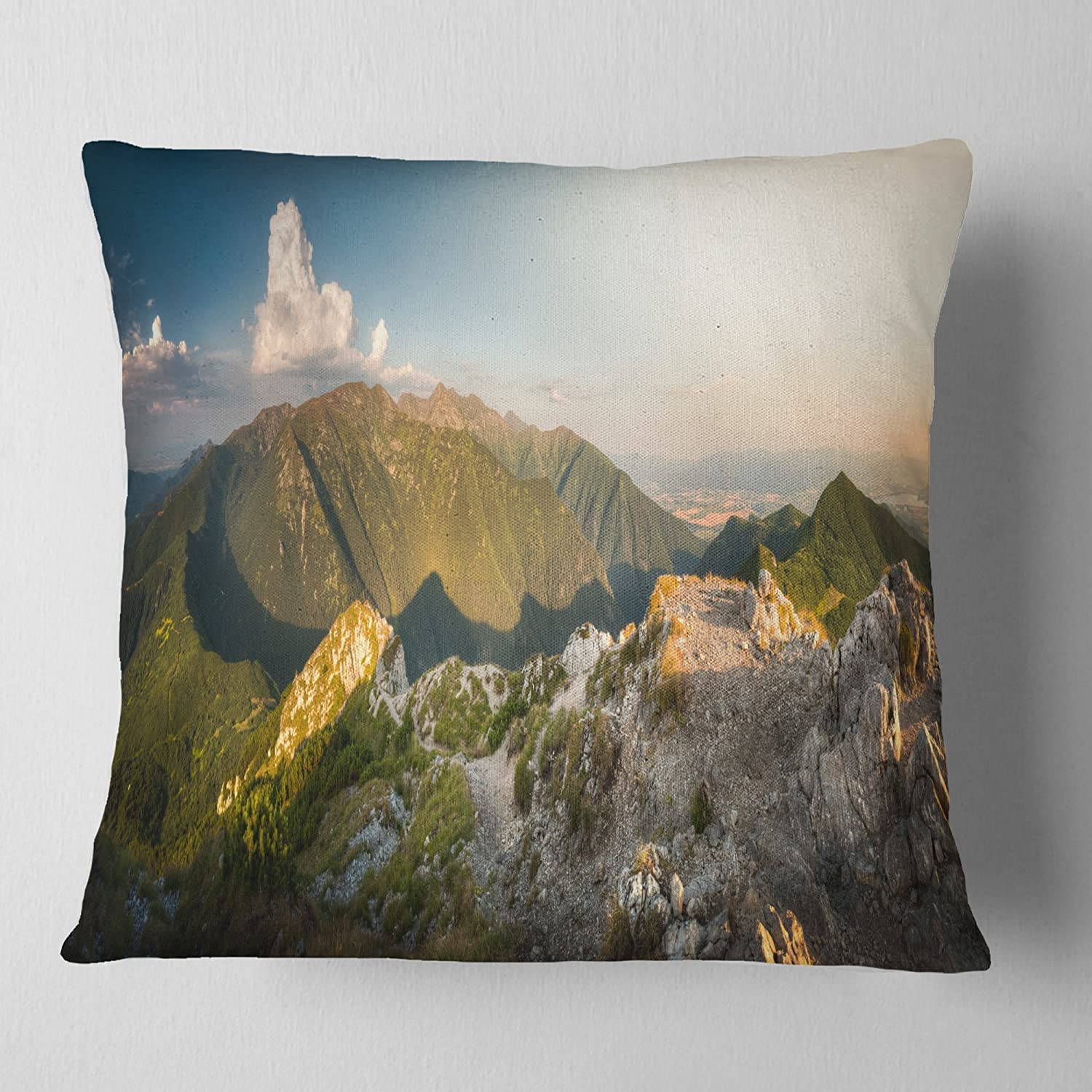 Designart CU11093-26-26 Rocky Green Mountains Panorama' Landscape Printed Cushion Cover for Living Room, Sofa Throw Pillow 26 in. x 26 in. in
