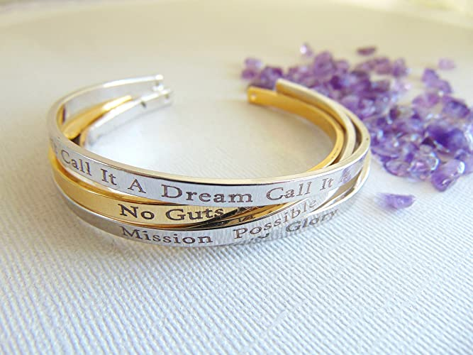 Personalized cuff gold Bracelets with engraved lovely quotes