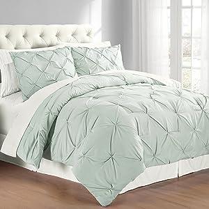 Swift Home Premium Collection 3-Piece Pintuck Comforter Set,King, Minsty Blue