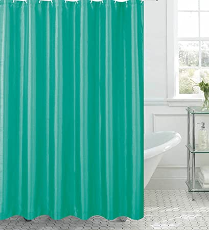Creative Home Ideas Jane Faux Silk Shower Curtain With 12 Metal Rings Turquoise