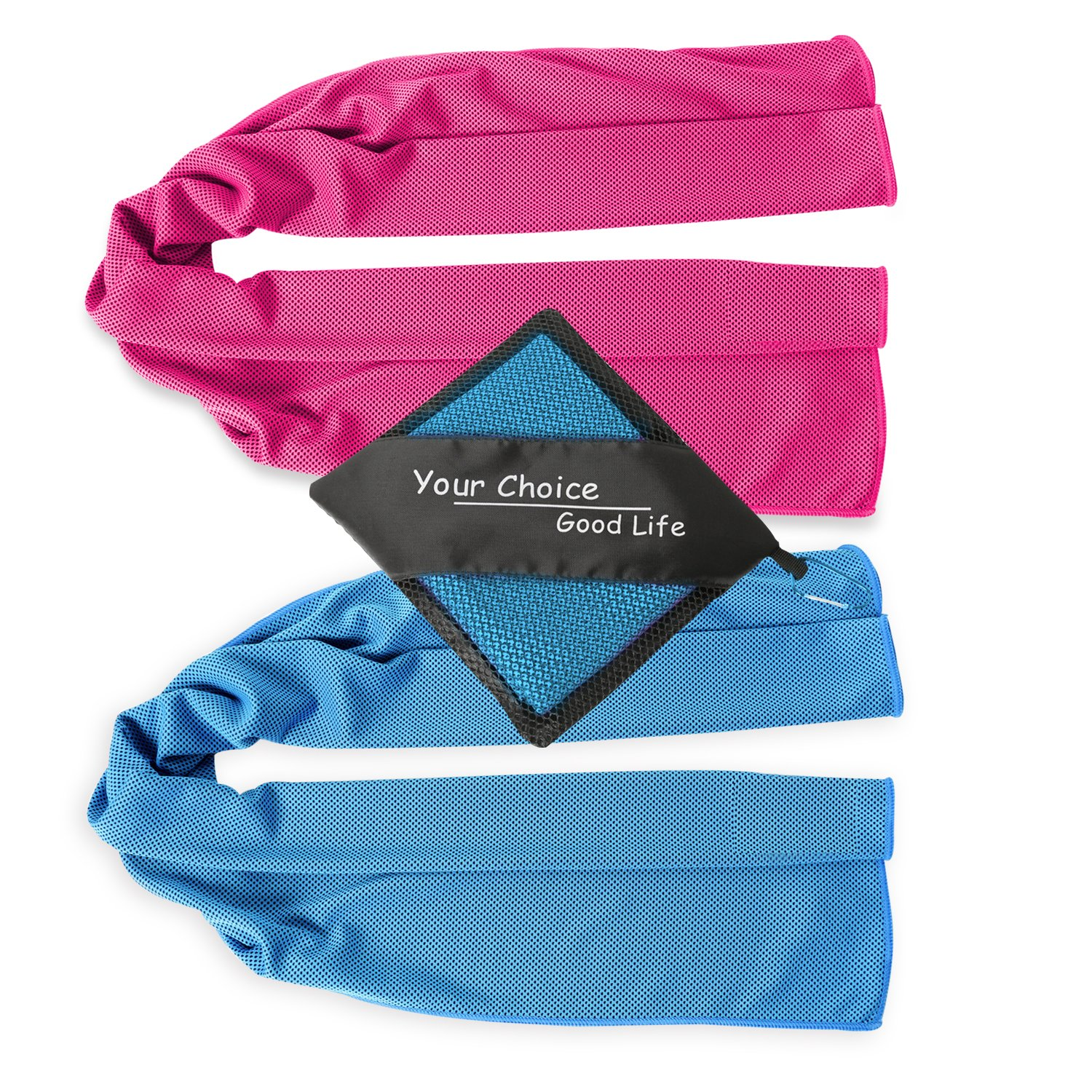Your Choice Cooling Towels - 2 Pack Cooling Neck Towel - Instant Chill Towels for Yoga Gym Workout Fitness Sports and Outdoors - Blue and Rose Red 12 x 40 Inch