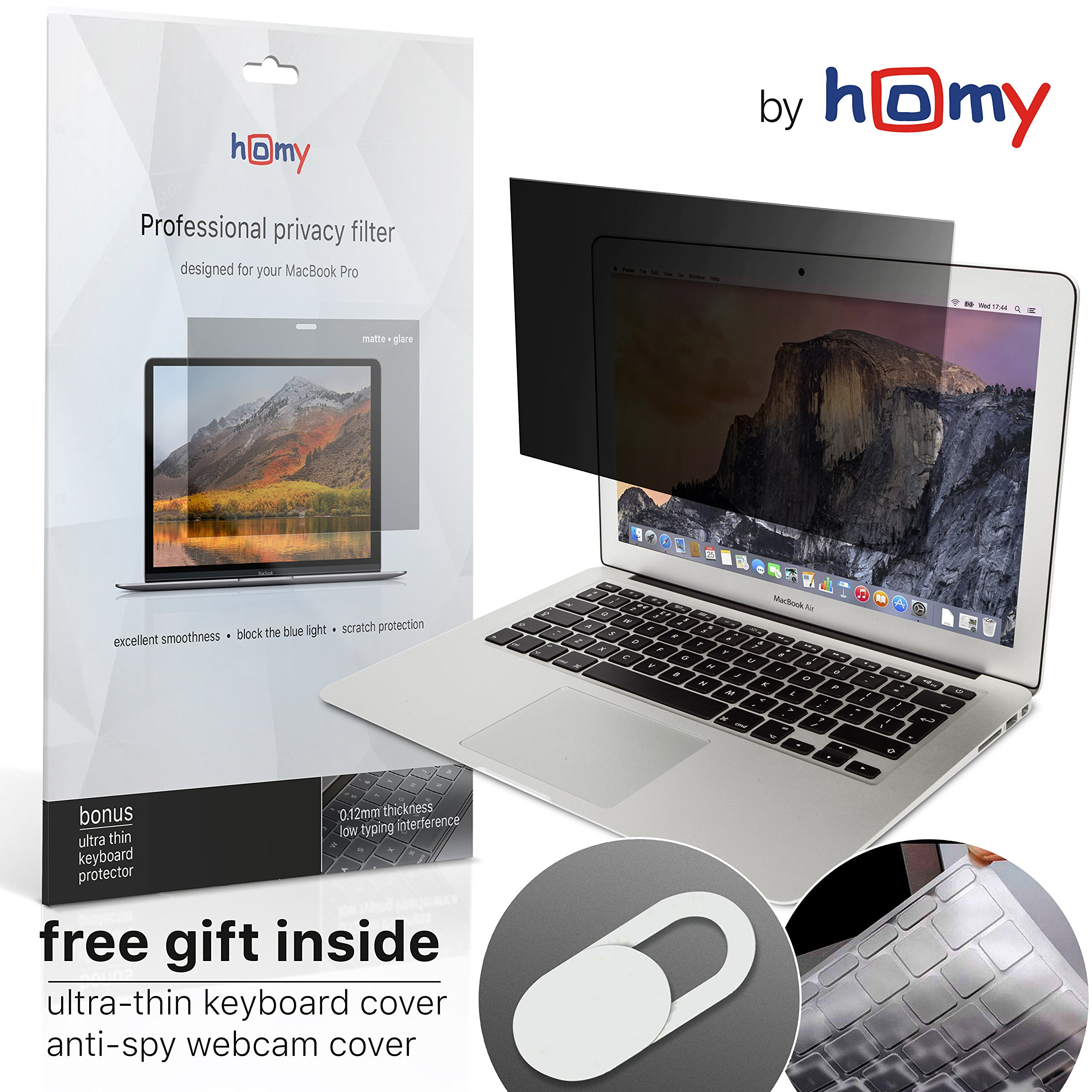Homy Compatible Privacy Screen Protector for MacBook Air 13 inch + Keyboard Cover Ultra-Thin TPU + Anti-Spy Webcam Sliding Cover + Filter Storage Folder kit. by Homy international (Image #1)