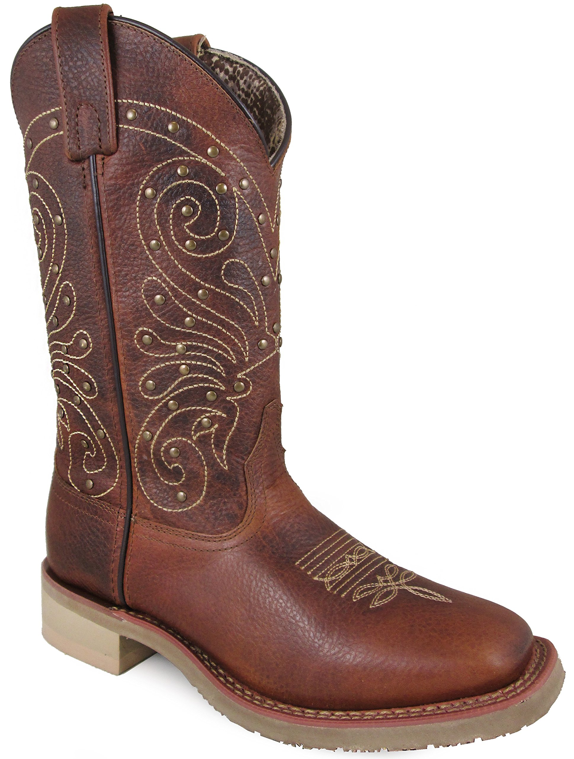Smoky Mountain Women's Summer Pull On Closure Stitched Studded Design Square Toe Brown Boots 11M