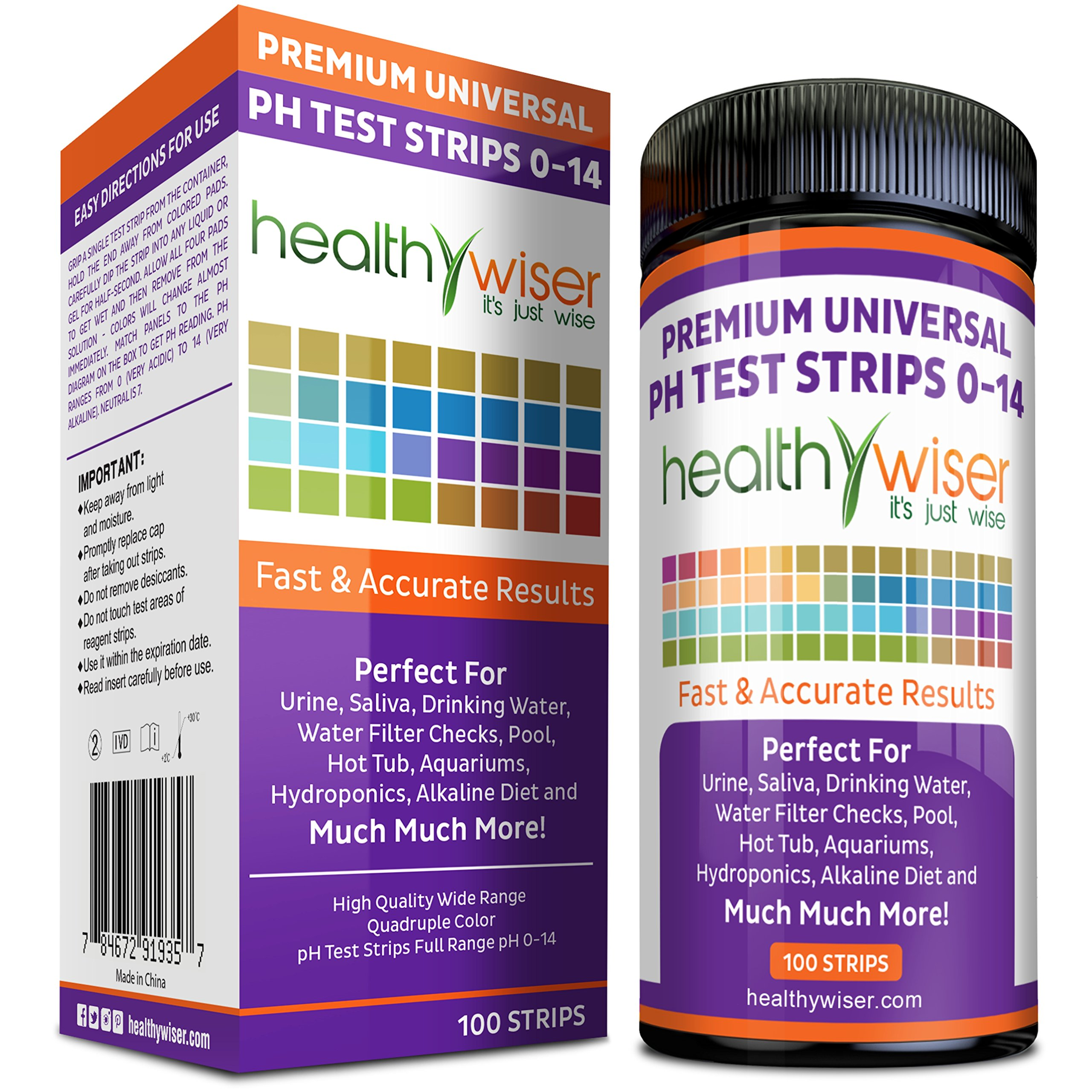 pH Test Strips 0-14, Universal Strips To Test Water Quality For Swimming Pools, Hot Tub, Hydroponics, Aquarium, Kombucha, Household Drinking Water, Soil, Urine & Saliva, Alkaline & Diabetic Diet 100ct by HealthyWiser (Image #1)