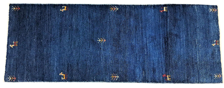ペルシャ遊牧民手織りギャッベ、キッチンマットサイズ(148㎝×54㎝)細かい結びで編上げたペルシャンブル色のギャッベ   B07SK6S2VV