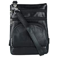 CTM Leather Biker Hook Waist Belt Bag with Thigh Strap