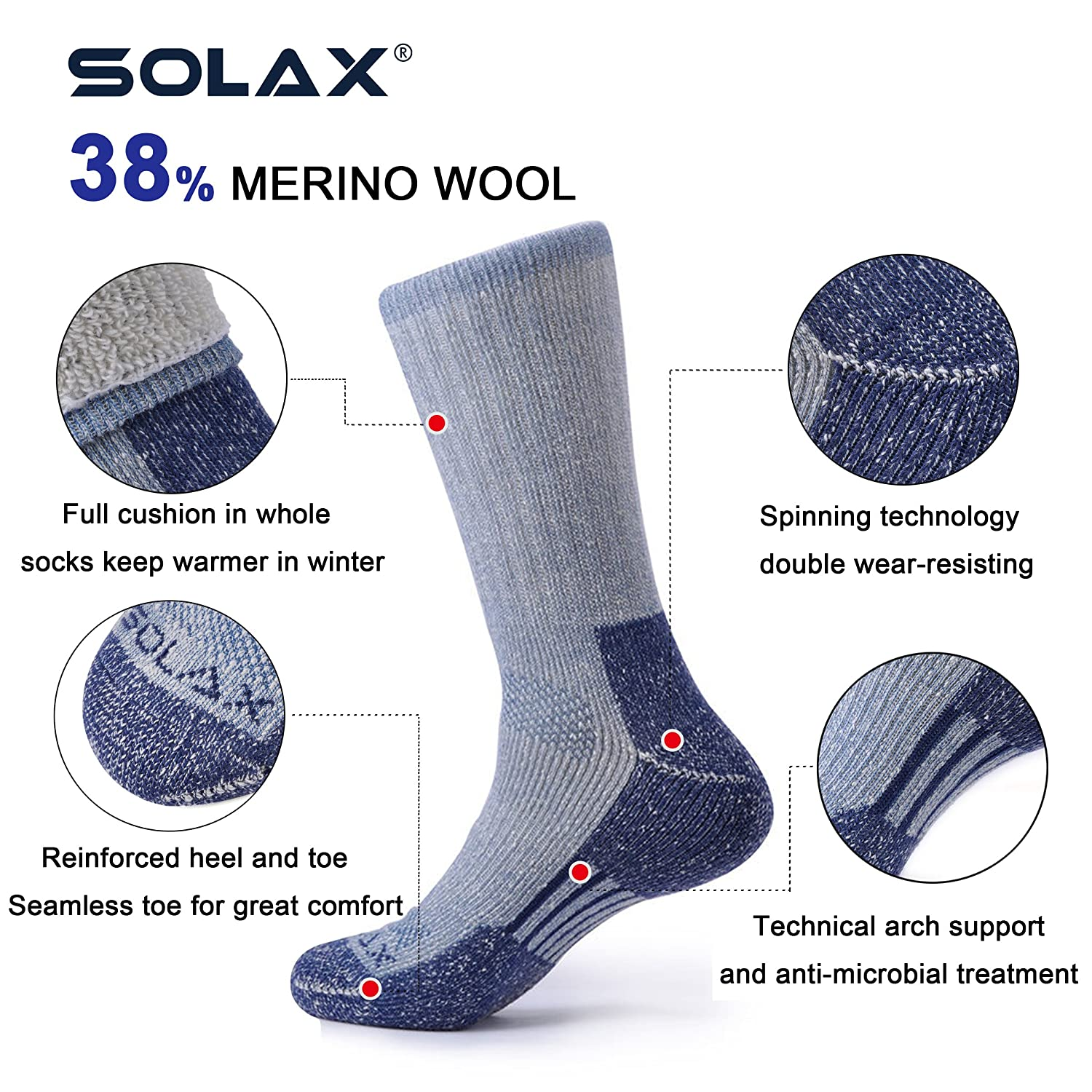 Amazon.com: SOLAX Mens Merino Wool Crew Socks Hombre Hiking Boot Sock Sport Calcetines Pack 2 Pairs (Size for 9-12.5 Blue): Clothing