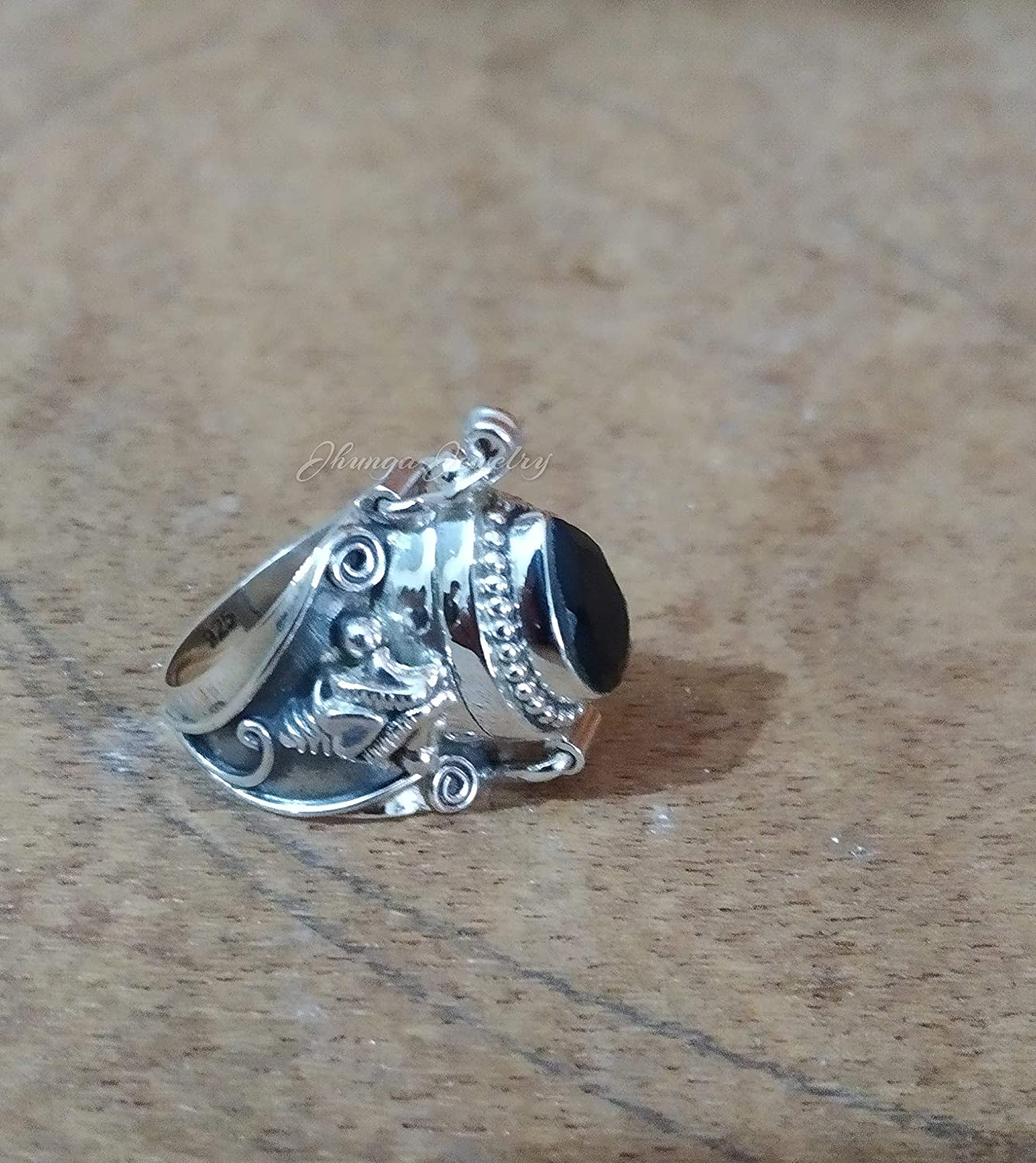 Sterling Silver Black Onyx Heart Ring Free Gift Packaging