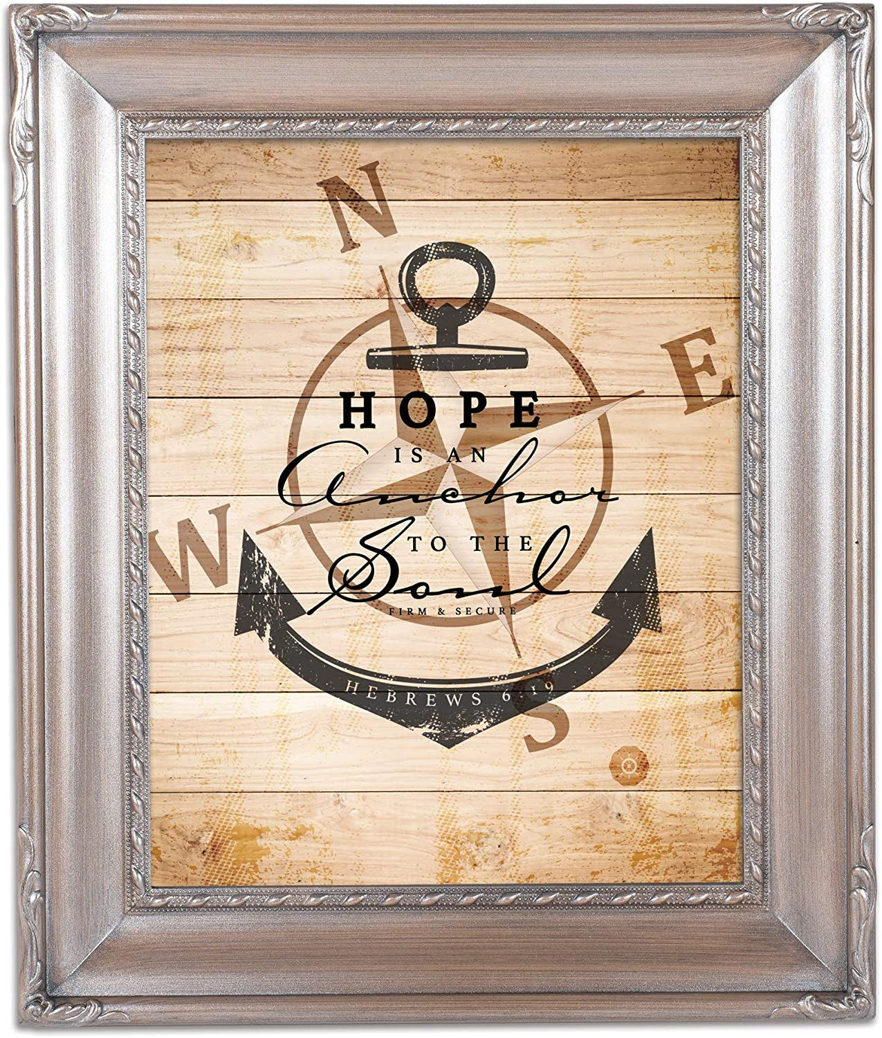 Cottage Garden Hope is an Anchor to The Soul Brushed Silver Rope Trim 8 x 10 Table Top and Wall Photo Frame