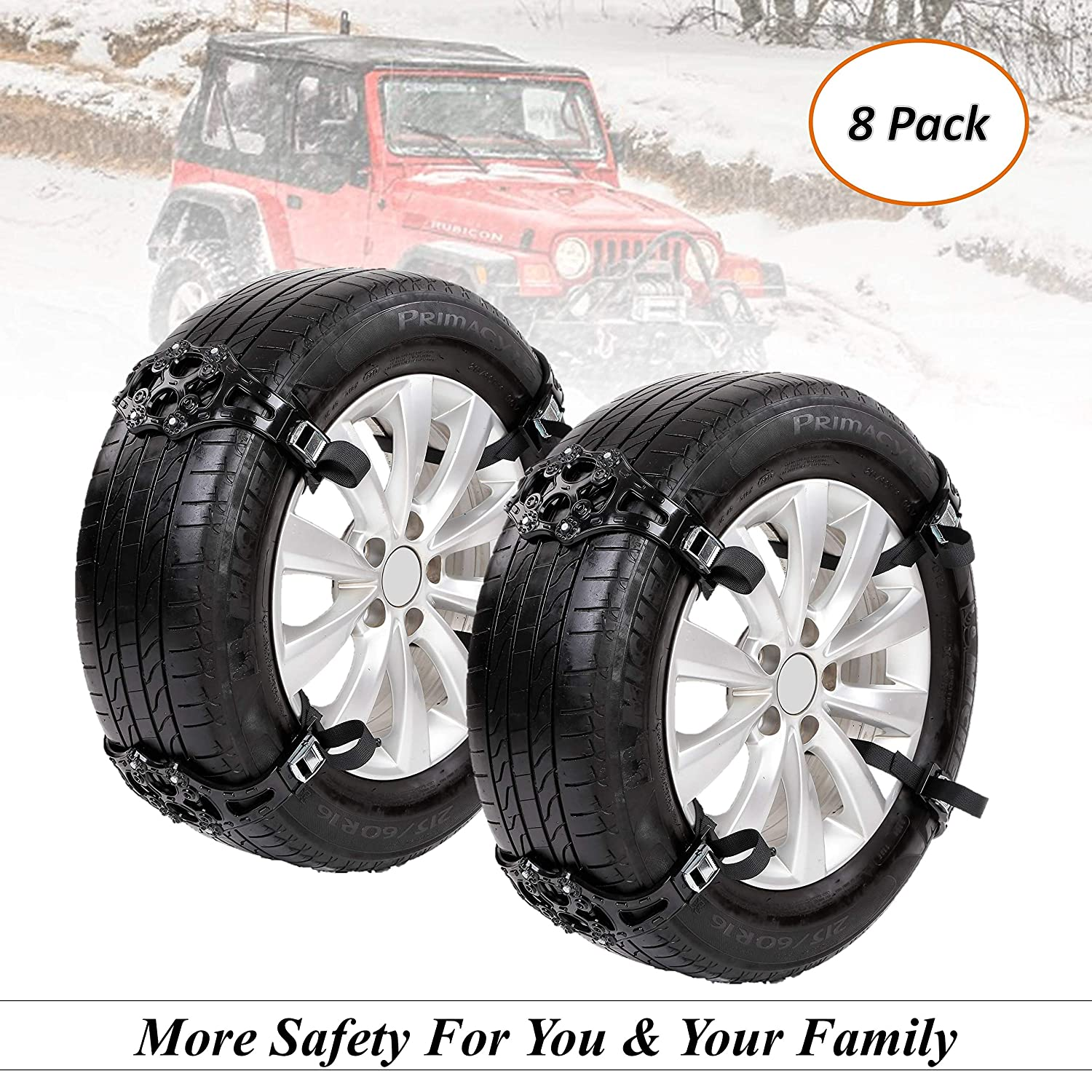Fun-Driving Tire Chains,Tire Snow Chains,Snow Chains for Car/Truck/SUV/RV, with Tire Width 165-275mm/6.5''-10.8'' (8 Pack)