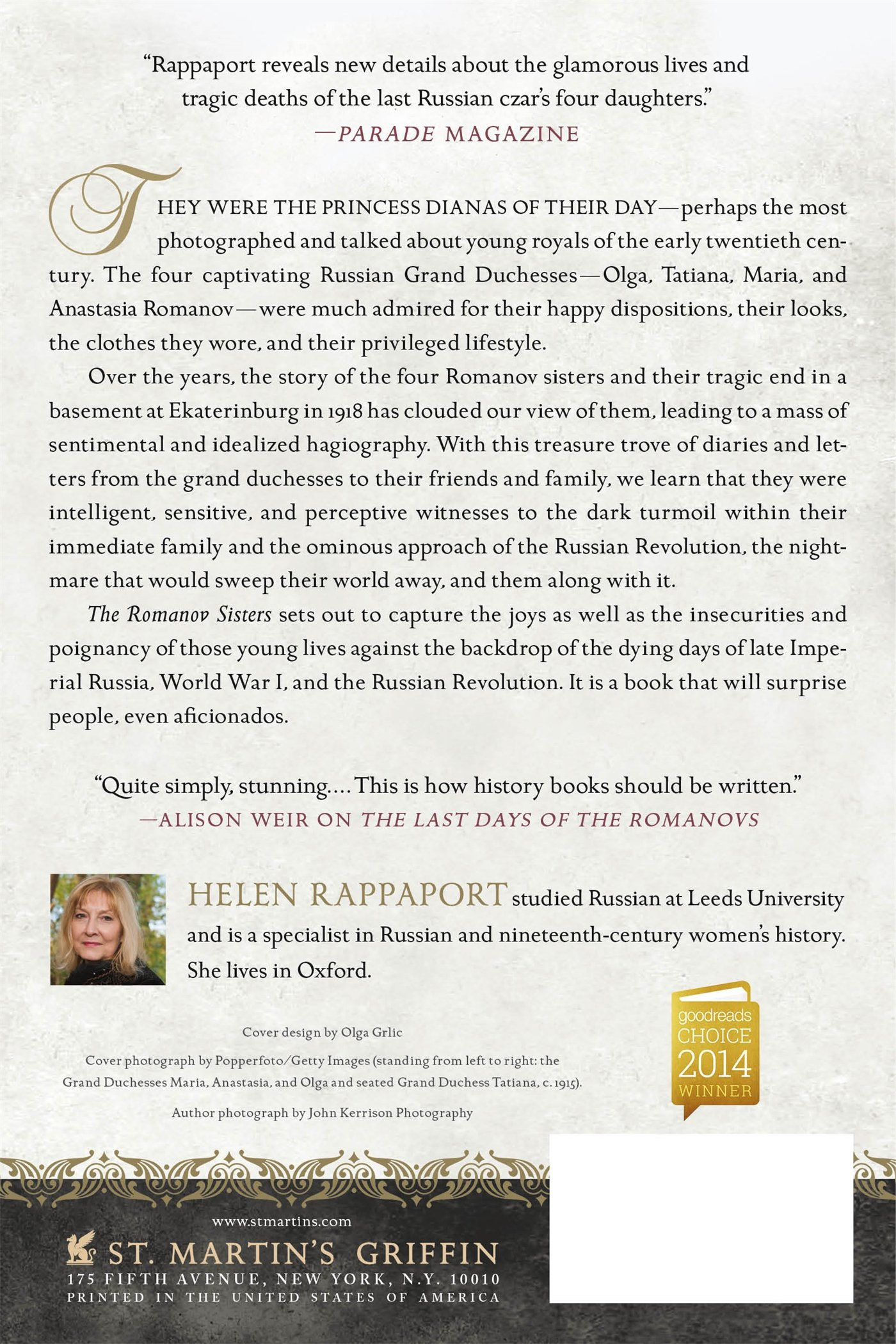 Amazon: The Romanov Sisters: The Lost Lives Of The Daughters Of Nicholas  And Alexandra (9781250067456): Helen Rappaport: Books