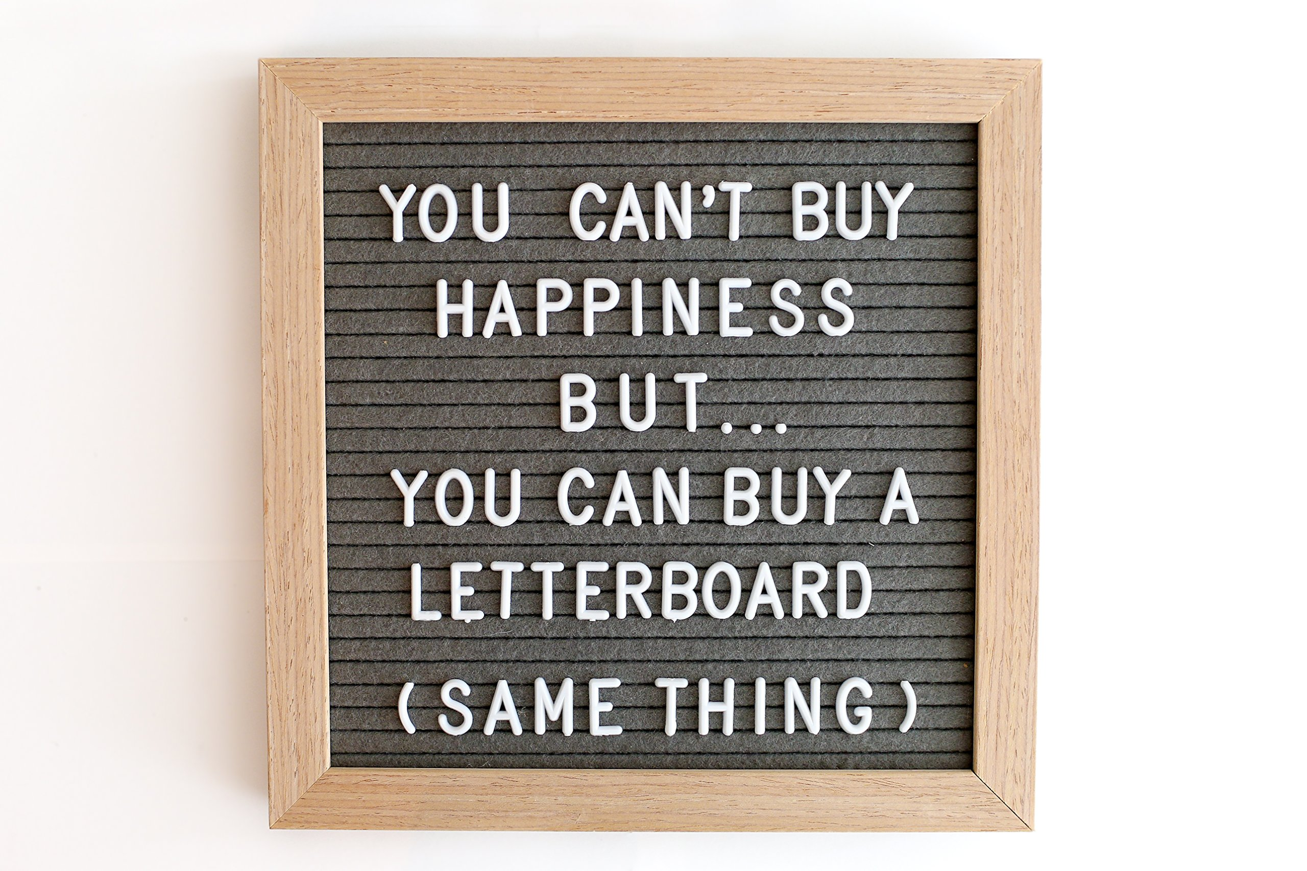 Gray Changeable Felt Letter Board | Message Board | 10 X 10 inches | 339 PRE-Cut Letters, Numbers and Symbols | Oak Wood Frame | Restaurant Sign | Wall Hanging Hook and Wooden Stand