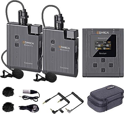 Comica BoomX-U U2 Broadcasting-Level Multi-Functional 1-Trigger-2 Mini UHF Wireless Microphone,Clip-on Microphone,Lav Mic