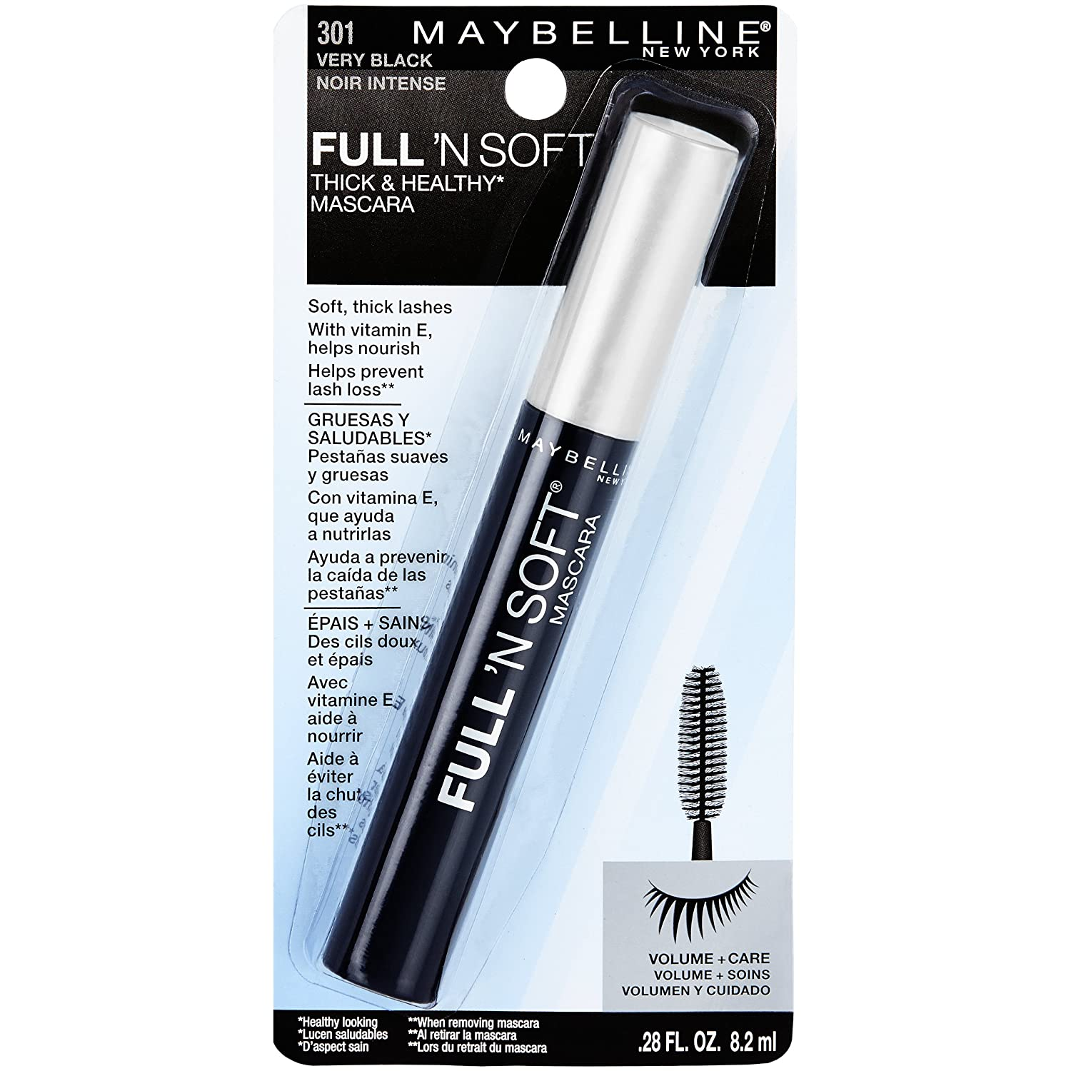 Maybelline New York Full N Soft Washable Mascara, Very Black, 0.28 fl. oz.: Amazon.es: Salud y cuidado personal