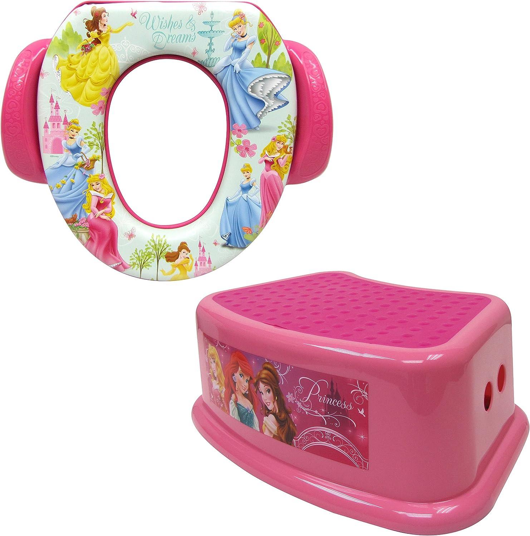 Contour Step Stool /& Soft Potty Pink Disney Princess Potty Training Combo Kit