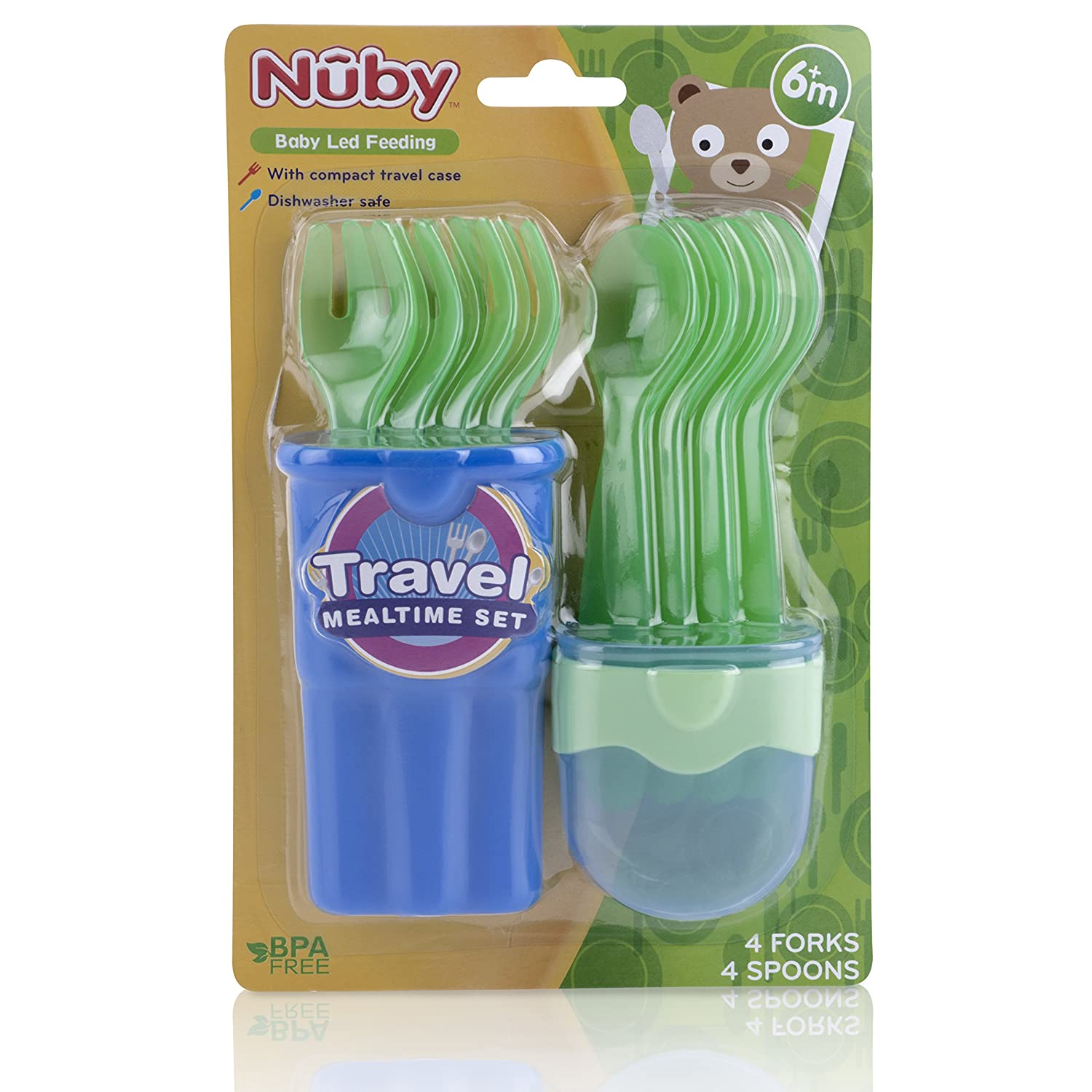 N/ûby 5242 Baby Travel Cutlery Set Including 4 Spoons and 4 Forks Suitable for Ages 9 Months and Above Colour Cannot be Selected