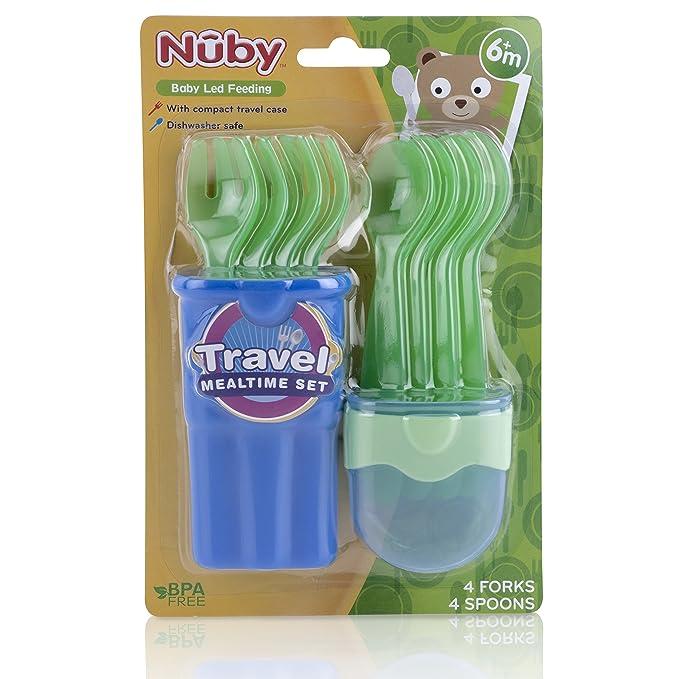 Nuby ID5242 - Pack con 4 cucharas y 4 tenedores coloridos en estuche transportable, 9+ m: Amazon.es: Bebé