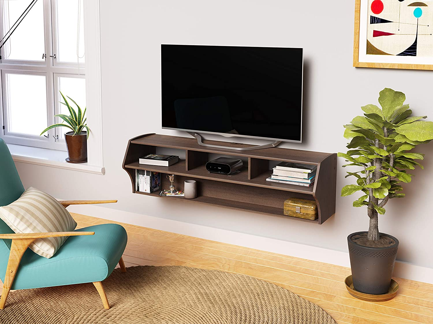 Amazon Com Espresso Altus Plus 58 Floating Tv Stand Electronics