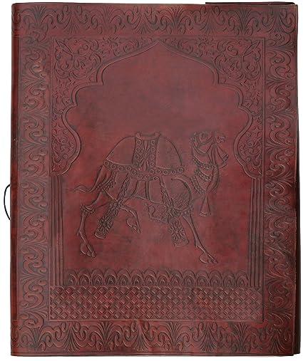 Photo Album On Sale Size 10x13 Genuine Camel Leather Journal Bi