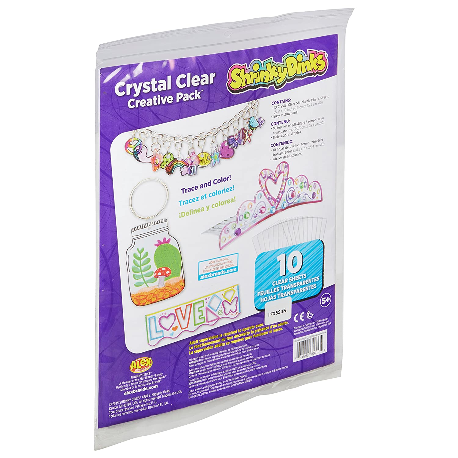 Amazon Com Shrinky Dinks Creative Pack 10 Sheets Crystal Clear
