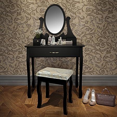 Miadomodo Secr/étaire Coiffeuse Table de Maquillage avec Miroir Pivotant Amovible et Tabouret Couleur au Choix