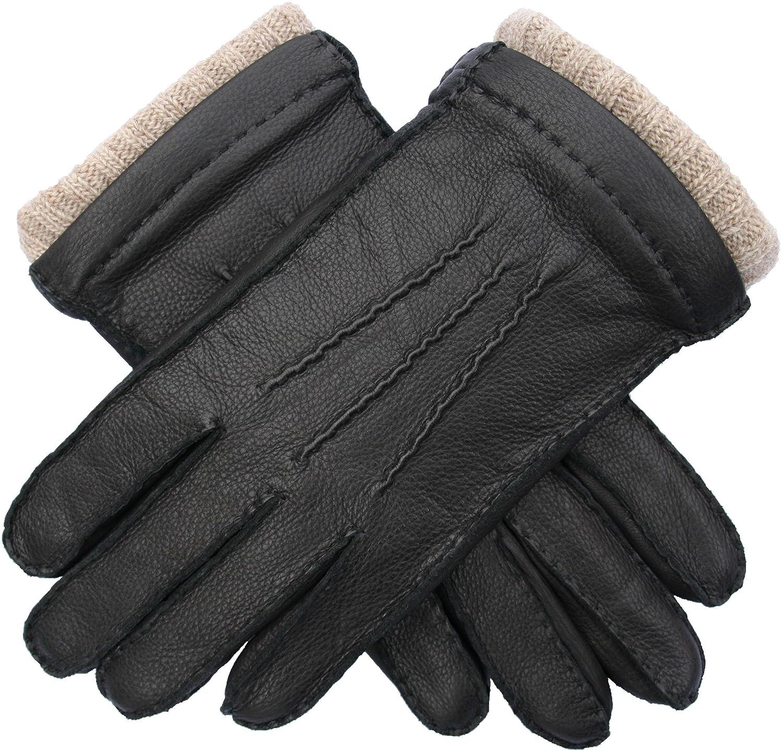 EEM Herren Lederhandschuhe EDGAR aus echtem Hirschleder, Strickfutter aus 50% Kaschmir und 50% Wolle
