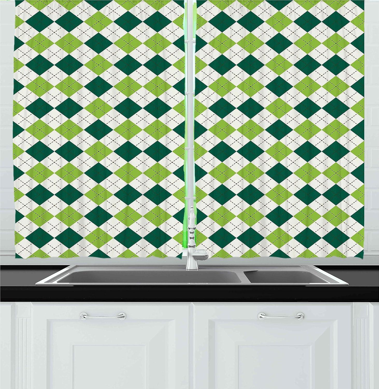 Amazoncom Ambesonne Geometric Kitchen Curtains Classical Diamond