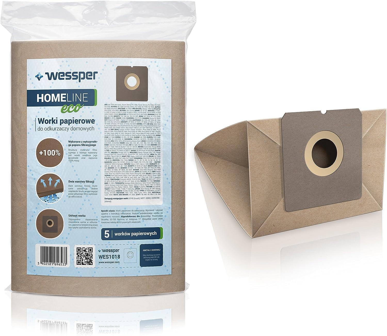 Wessper Bolsas de aspiradora para Taurus Smart 1300 E (5 Piezas, Papel): Amazon.es: Hogar