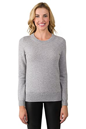 72614aef222 JENNIE LIU Women s 100% Pure Cashmere Long Sleeve Crew Neck Sweater ...